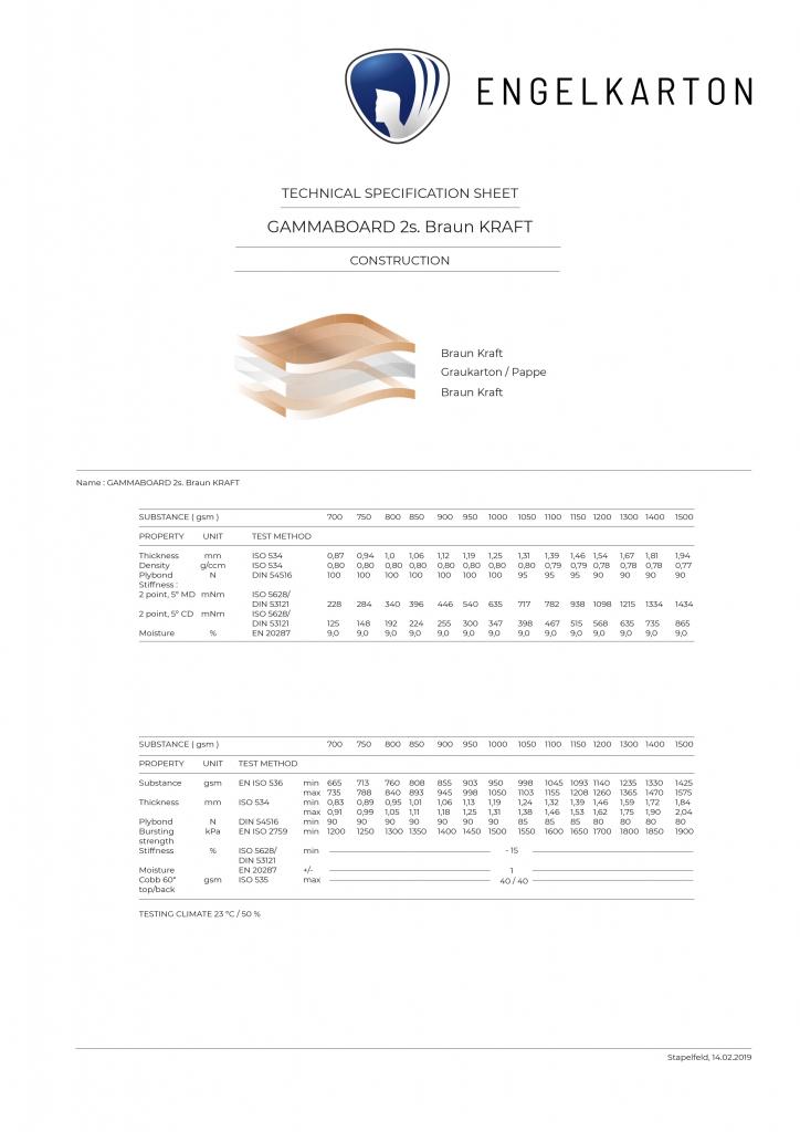 ENGELKARTONGAMMABOARD 2s. Braun KRAFT_BRAUNKARTON [ PAPPE ] 100 % Altpapier 2seitig mit KRAFTPAPIER kaschiert Braun matt / Braun matt