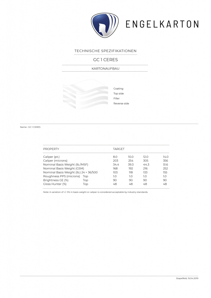 ENGELKARTON_GC 1 CERES_*Lightweight Cover Board - mit den besten Eigenschaften für optimale Druckergebnisse !*_GC 1 Chromokarton_100 % Frischfaser_Vorderseite gestrichen_Einlage hell_Rückseite weiß