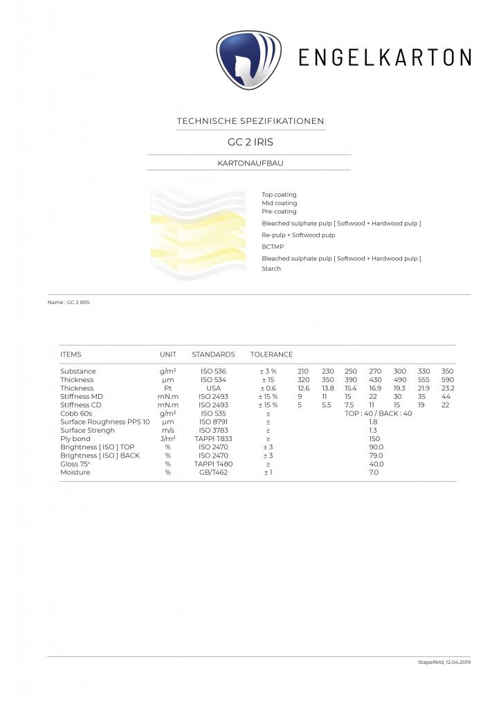 ENGELKARTON_GC 2 IRIS_*Vorderseite 3fach Coating + Schichten aus Softwood + Hardwood Pulp + Re-Pulp + Rückseite mit Schonschicht !*_GC 2 Chromokarton_100 % Frischfaser_Vorderseite mit 3fach Coating_2 Schichten aus Bleached sulphate pulp [ Softwood + Hardwood Pulp ] + Re-Pulp + Softwood Pulp_Einlage BCTMP_Rückseite Starch [ Schonschicht ]