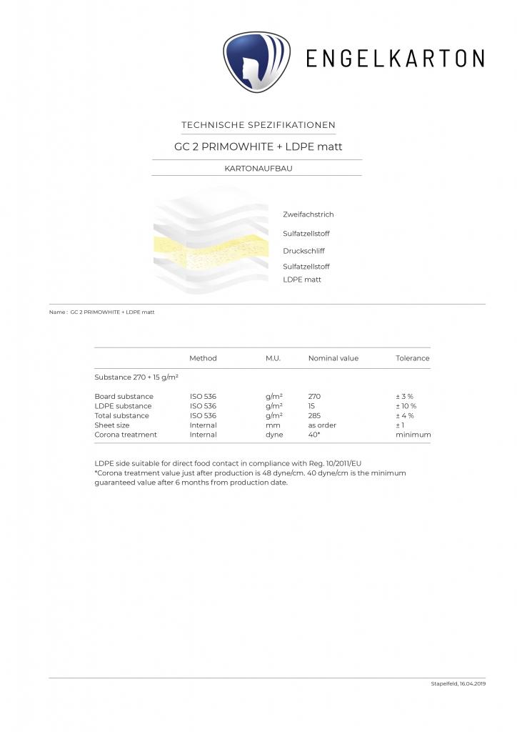 ENGELKARTON_GC 2 PRIMOWHITE + LDPE matt_*Aus Druckschliff + Sulfatzellstoff mit 2fach-Strich + LDPE !*_GC 2 Chromokarton 100 % Frischfaser + LDPE matt Vorderseite Sulfatzellstoff + 2fach-Strich_Einlage aus Druckschliff_Rückseite Sulfatzellstoff + LDPE matt